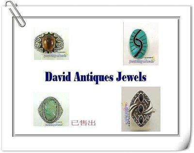 ((天堂鳥)) 虎眼石,土耳其石 ,天然白底青玉,黑膽石古董造型純銀戒 不二價