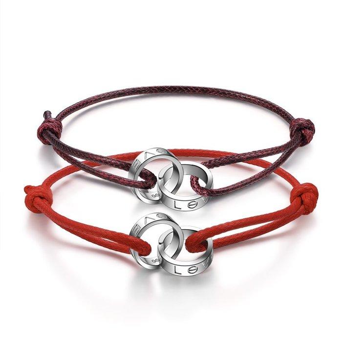韓國Baby~LOVE足銀情侶手鍊一對 韓版紅黑手繩編織純銀飾 可刻字生日禮物