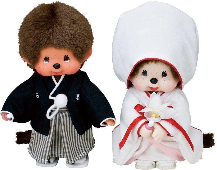 41+現貨免運費 日本進口 Monchhichi 夢奇奇 新郎新娘和裝 結婚娃娃禮盒 絨毛布偶 玩偶  小日尼三