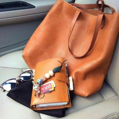 【海洋之心二館】Madewell 新款 棕色牛皮手提包/購物包~托特包~