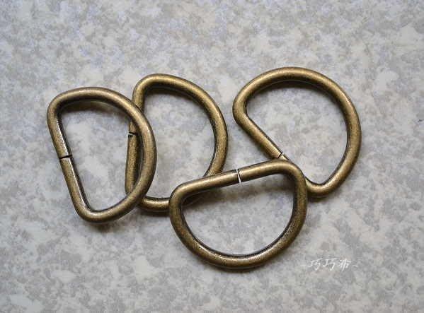 *巧巧布拼布屋*日本進口~拼布D型環15mm 1.5cm / 拼布五金材料 顏色~古銅 / 黑金2色---1包4入