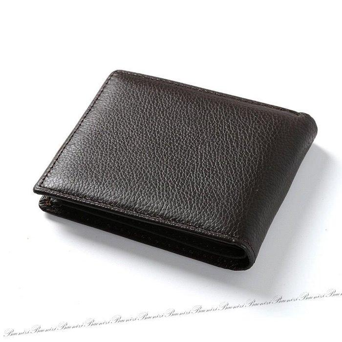 《現貨》男士短款真皮皮夾 黑色橫款短夾 荔枝小紋皮夾 休閒皮夾 Baonizi