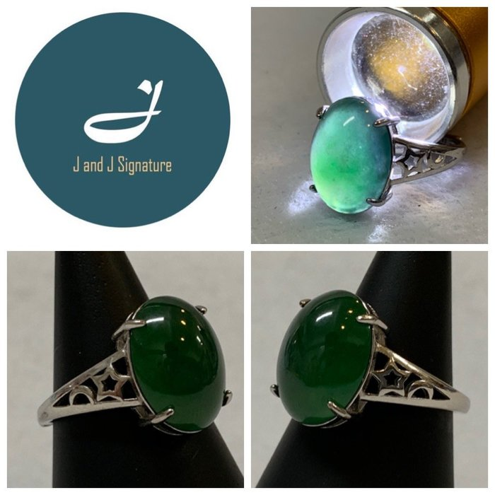 老坑綠蛋面翡翠戒指