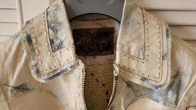全台唯一一件 歐洲品牌 米白單寧拼接羊皮毛外套