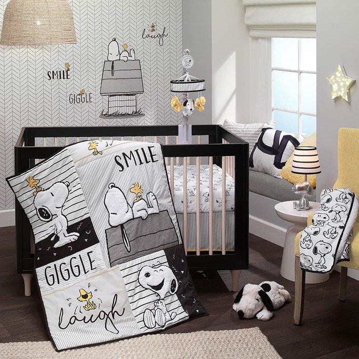 預購 美國帶回 新生兒 寶寶 嬰兒床 Snoopy 可愛史努比寢具三件組 嬰兒床組 彌月送禮 生日禮