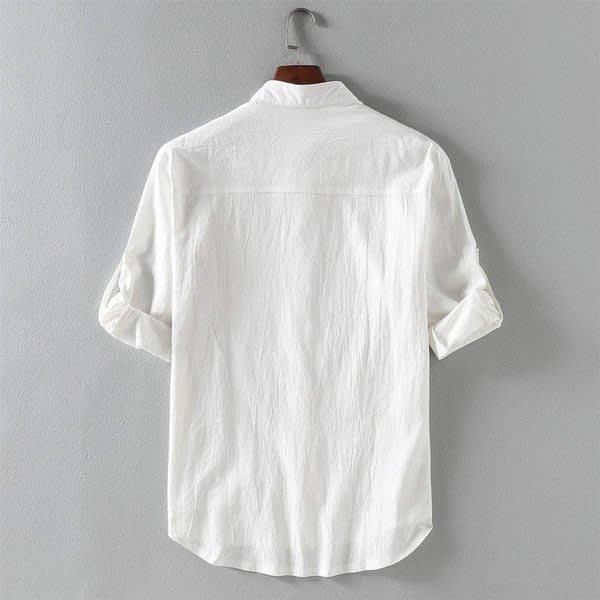 七分袖襯衫男士韓版修身潮流帥氣休閒亞麻短袖襯衣棉麻夏季寸外套