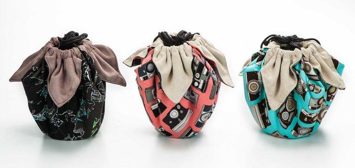 呈現攝影-手作 超細纖維包布束口袋 大號 40x40cm 大開口 保護袋 鏡頭袋 清潔布 相機袋 單眼 絨布
