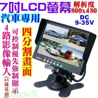 MAX安控-車用 4分割螢幕4路7吋LCD液晶螢幕四畫面7寸屏幕7高清800*480中控台顯影器車側監看倒車影像專用