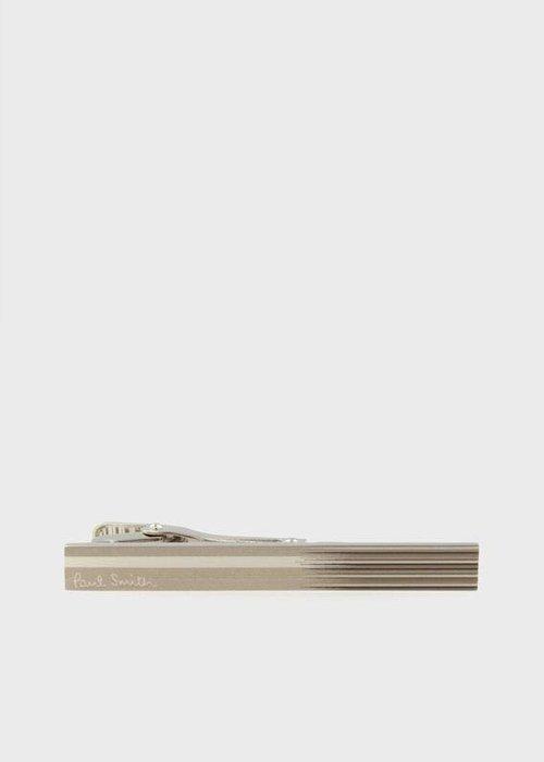 日本製!全新日本專櫃正品 Paul Smith 日版 銀色經典漸層條紋中窄版領帶夾 附專櫃盒裝 紙袋