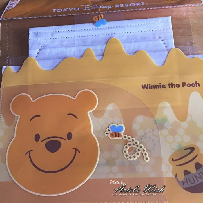 Ariel's Wish-日本東京迪士尼連線代購小熊維尼蜜蜂蜂蜜winnie口罩及雙層口罩收納套組--日本製--現貨