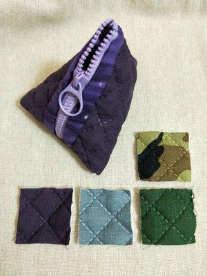 【預訂】手作立體三角型粽子型零錢包 壓棉菱格 共四色