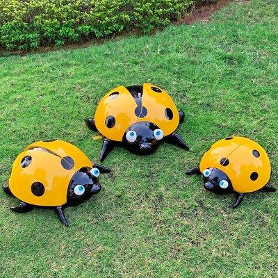 戶外花園雕塑仿真甲蟲擺件庭院園林裝飾七星瓢蟲草坪動物景觀擺設小豬佩奇