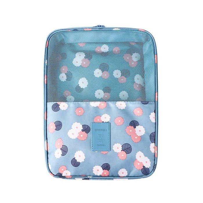 【杰元生活館】淺藍花朵 DINIWELL新款斜紋防水加大可掛行李箱旅行用衣物鞋子袋收納用雙層三位鞋包