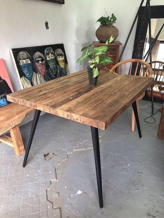 老柚木現代工業風餐桌 (L120 W90 H76.4 cm)