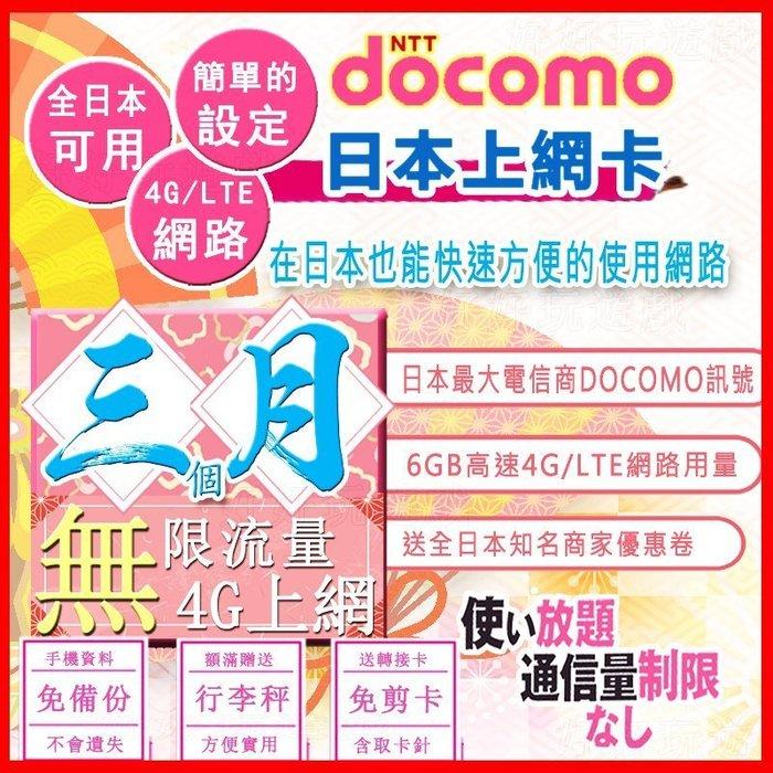 *日本好好玩 超商免運費*3個月 90天 日本上網卡 6GB高速用量 4G 吃到飽 送行李秤 日本docomo sim卡
