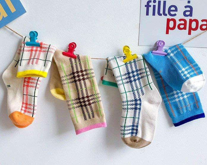 【小阿霏】兒童中筒襪 男童女童文青款不規則格紋棉襪 上學出遊必備襪子PA330