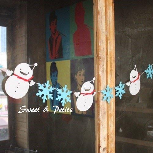 FW33❤微笑雪人冰藍雪花掛飾組❤ 聖誕節活動派對迎賓旗幟 Xmas party 耶誕氣氛必備吊飾 聖誕樹裝飾掛飾
