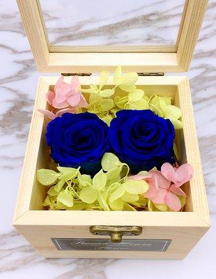 *~Serena House~*不凋花永生花 美女與野獸 情人節禮物 寶藍玫瑰不凋花木禮盒 婚禮小禮 生日禮物
