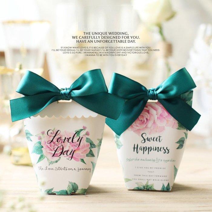 婚禮喜糖盒小禮盒 午後花園森系歐式粉色婚禮喜糖盒創意婚慶結婚喜糖袋(同色300個)  _☆找好物FINDGOODS ☆