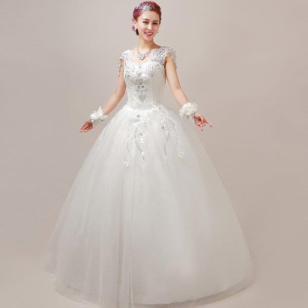 5Cgo【鴿樓】會員有優 35876157049 新娘結婚禮服敬酒晚禮服大碼韓式蕾絲雙肩綁帶簡約顯瘦婚紗禮服 伴娘服