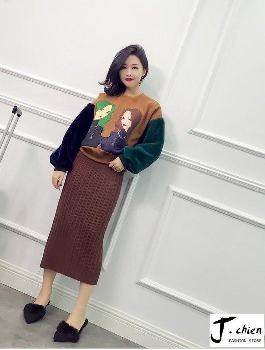 J.chien ~[全館免運]美女頭像拼接毛毛袖加絨上衣 拼接上衣 韓版上衣 休閒上衣