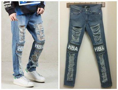 HBA hood by air 牛仔褲 破壞 白漆 拉鍊  zip w28