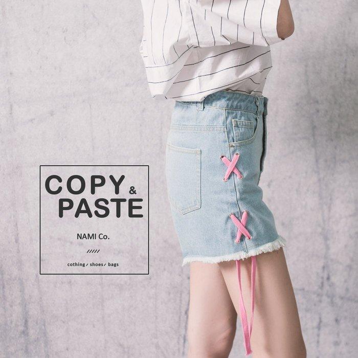 Copy&Paste【PA34】韓國訂單.甜美可愛粉色繫帶交叉XX綁帶設計顯瘦修飾丹寧牛仔短褲 (S現貨)