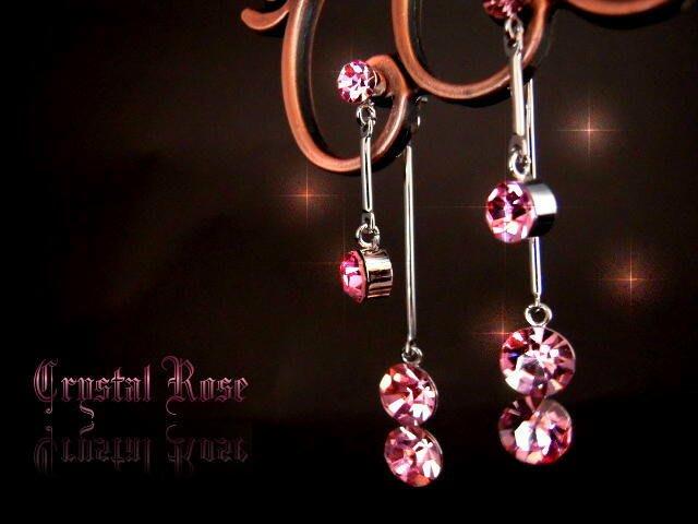 ※水晶玫瑰※ 水晶鑽 耳針式耳環(DD390)