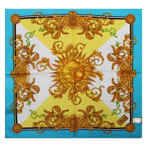 【姊只賣真貨】VERSACE 凡賽斯 古典藝術風太陽圖騰領帕巾(黃色/藍色)