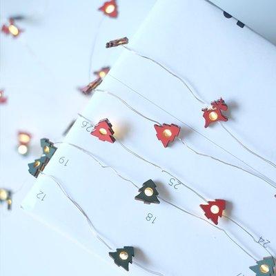 北歐木質白色紅色麋鹿雪花聖誕樹造型聖誕LED燈串聖誕氛圍布置