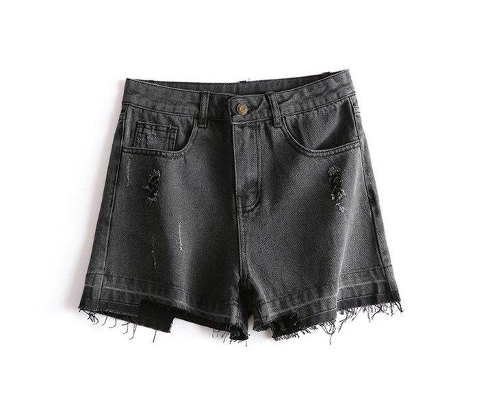 【木風小舖】水洗刷破 下毛邊高腰牛仔短褲*黑灰