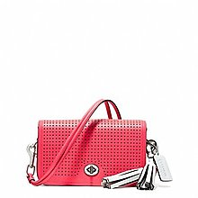 Coco小舖 COACH 22387 LEGACY PERFORATED LEATHER PENNY  西瓜紅色