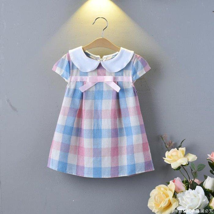 米羅SHOP 童裝2020夏季潮新款女童娃娃領格子連衣裙棉中小童裙子兒童寶寶公主裙ML686
