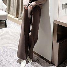 『 筱涵 日系美學衣飾 』體面而時髦 厚實溫暖雙面工藝側邊踏筋摩卡色綿羊毛雙面呢闊腿褲