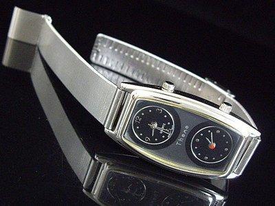 艾曼達精品~甜美空姐最愛優雅長酒桶型兩地時間石英錶日本製錶心14mm錶帶