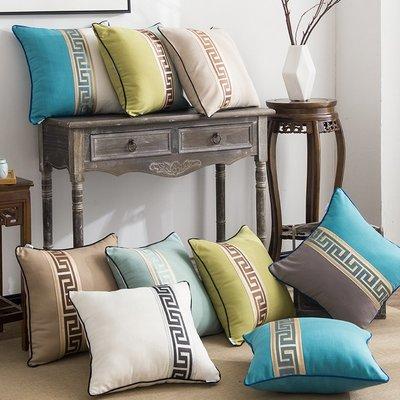 新中式中國風紅木沙發抱枕套不含芯正方形靠枕靠墊床上床頭大靠背【最小尺寸】