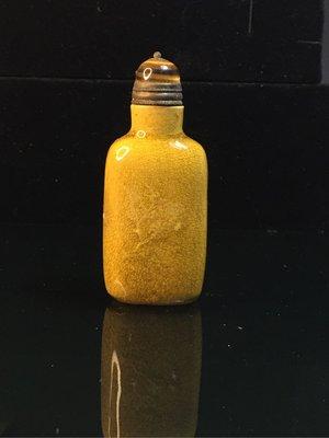 【采芝齋】早期收藏 清代  黃釉 暗紋 詩詞歌賦 鼻煙壺