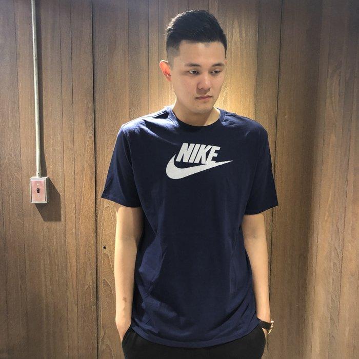 美國百分百【全新真品】Nike T恤 短袖 T-shirt 運動 休閒 logo 深藍色 大尺碼 XL號 J361