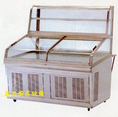 鑫忠廚房設備-餐飲設備:全新雙層海產櫥-賣場有-烤箱-水槽-咖啡機-西餐爐