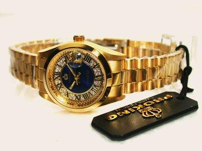 不鏽鋼.日期顯.中藍面.羅馬數字面板女錶