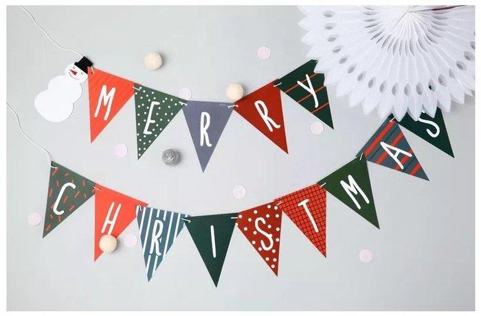 FW55❤聖誕雪人三角彩旗❤ 紙旗 聖誕節 跨年活動派對 迎賓旗幟掛飾 拍攝道具 戶外派對旗組 聖誕樹掛旗 紅綠配色