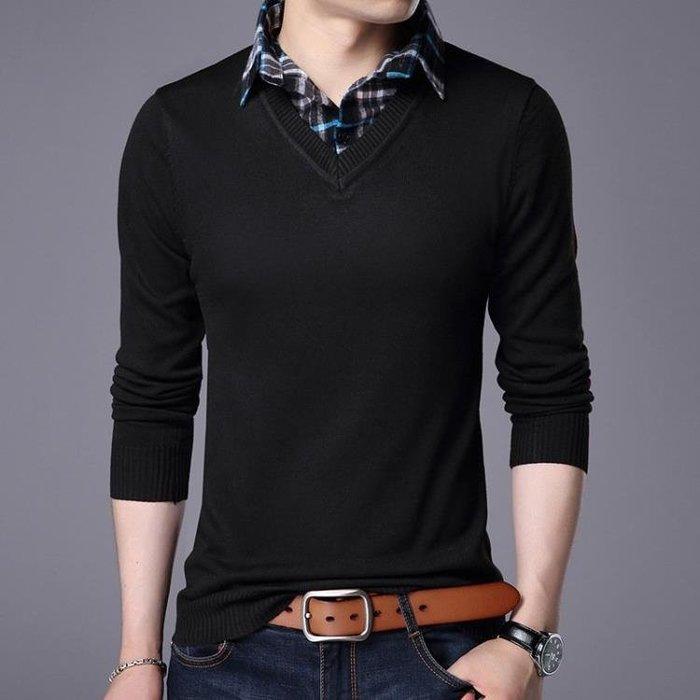 男式毛衣簡約休閒假兩件男式套頭翻領毛衫薄款打底衫男生毛衣 男針織衫套頭衫t6548