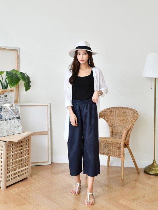 C-Ting簡約韓國   薄款直條紋棉質柔軟舒適7分褲/ 100%韓國空運