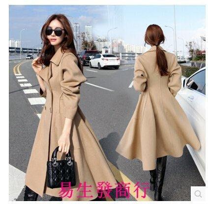 【易生發商行】韓國代購冬裝新時尚毛呢外套女中長款修身顯瘦雙排扣毛呢大F5942