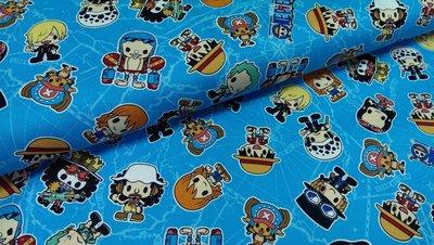 豬豬日本拼布/限量版權卡通布/Q版海賊王喬巴藍色/牛津布厚棉布材質