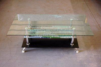 大台南冠均二手貨--全新 105公分 造型款大茶几 長方形大茶几 玻璃茶几 382 *家具/電視櫃/沙發/床組/彈簧床墊