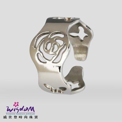 玫瑰蝴蝶鏤空塑指鋼女戒 戒指 情人節 生日 送禮物 威世登時尚珠寶
