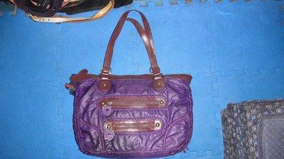 ~保證真品蠻優的 Anna Sui 紫色帆布和真皮款大方包 手提包 肩背包~便宜起標無底價標多少賣多少