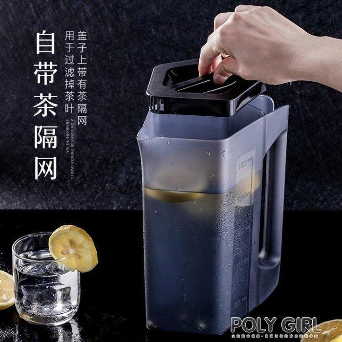 冷水壺塑膠紮壺比玻璃防爆耐熱耐高溫家用涼水杯套裝大容量涼水壺