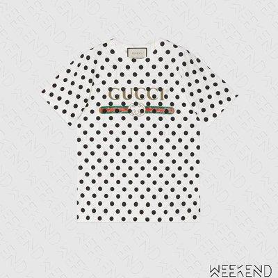 【WEEKEND】 GUCCI Logo Polka Dot 波爾卡點 短袖 上衣 T恤 白+黑色 615044